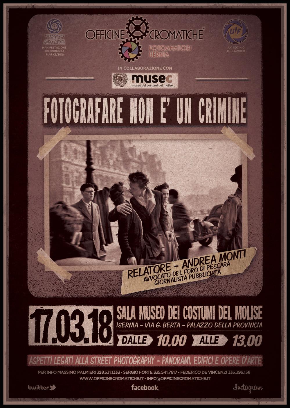 FOTOGRAFARE NON E' UN CRIMINE - 17 MARZO 2018